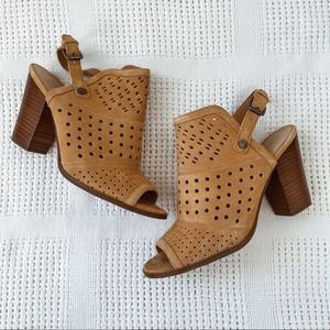 MARC FISHER   Tan Suede Leather Perforated Casha Mule Heels